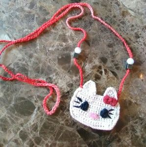 Crocheted Kitty MoJo Bag Necklace